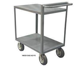 2 SHELF STOCK CARTS WITH RAISED HANDLES